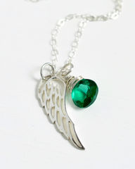 Silver Angel Wing Miscarriage Memorial Necklace with May Birthstone - product images 6 of 6