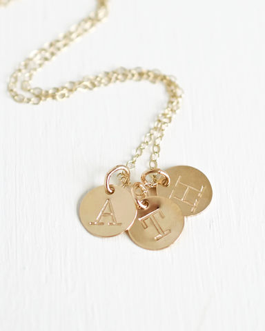 Personalized,Gold,Mothers,Initial,Charm,Necklace,with,Three,Initials,initial necklace for moms, mothers initial necklace, mothers initial charm necklace, childrens initial necklace for moms, initial charm necklace for moms
