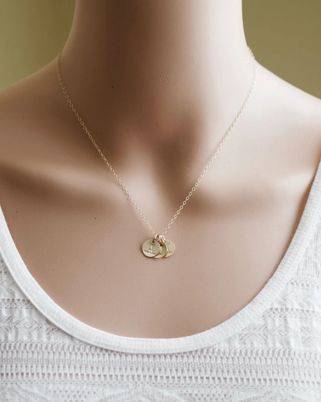 personalized gold mothers initial charm necklace with. Black Bedroom Furniture Sets. Home Design Ideas