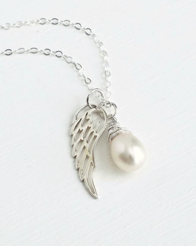 Silver Angel Wing Miscarriage Memorial Necklace with June Birthstone - product image