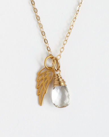 Gold,Pregnancy,Loss,Necklace,with,April,Birthstone,and,Angel,Wing,Charm,pregnancy loss necklace, miscarriage necklace with birthstone, miscarriage memorial necklace