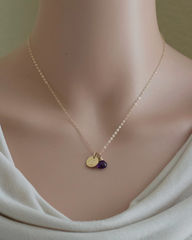 Personalized Gold Initial Necklace with Birthstone for February - product images  of