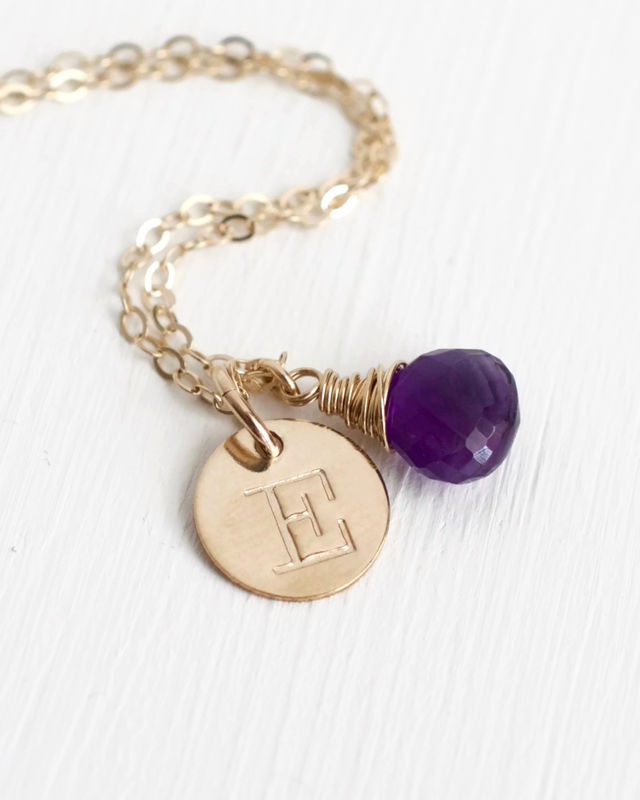 Personalized Gold Initial Necklace with Birthstone for February - product image