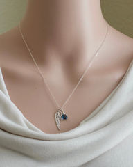 Silver Angel Wing Miscarriage Memorial Necklace with September Birthstone - product images  of