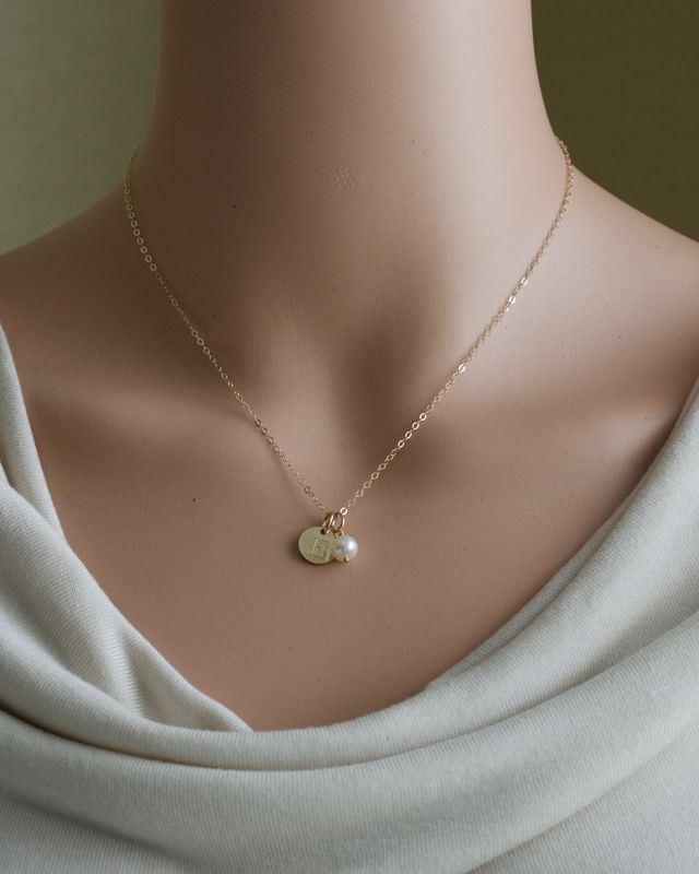 Personalized Gold Initial Necklace with Birthstone for June - product image