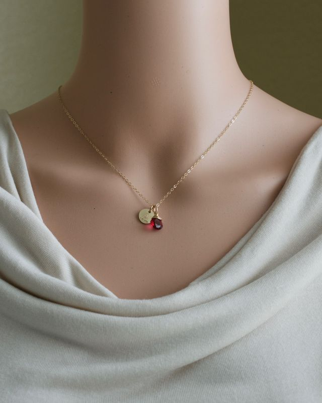 Personalized Gold Initial Necklace with Birthstone for July - product image