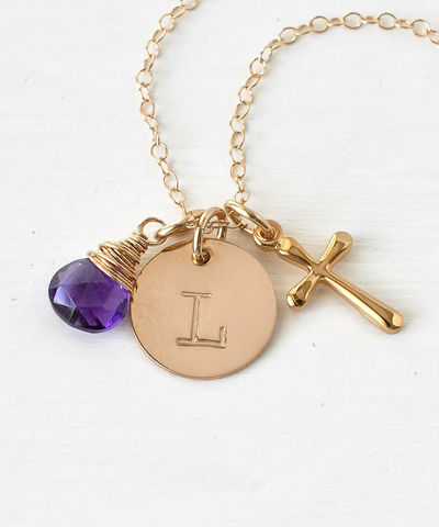 Personalized,Confirmation,Gift,Necklace,with,Cross,Initial,and,Birthstone,Gold,Fill,personalized confirmation gifts, personalized confirmation jewelry, confirmation necklace