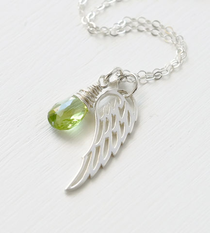 Silver,Angel,Wing,Miscarriage,Memorial,Necklace,with,August,Birthstone,miscarriage necklace forget-me-not, miscarriage memorial jewelry, miscarriage necklace with birthstone