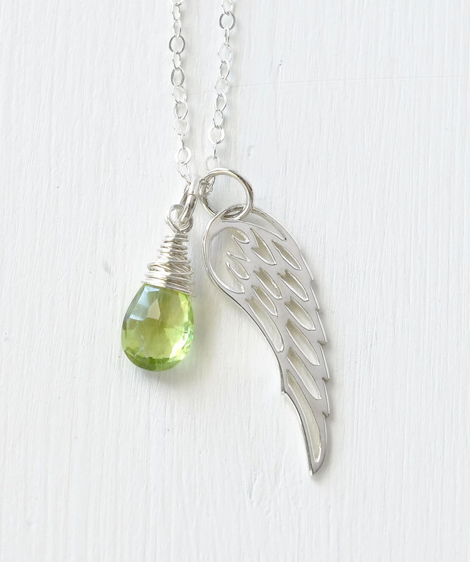 Silver Angel Wing Miscarriage Memorial Necklace with August Birthstone - product image