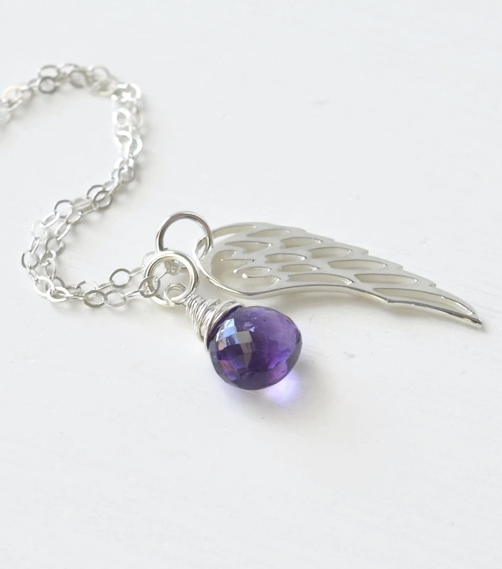 Silver Angel Wing Miscarriage Memorial Necklace With