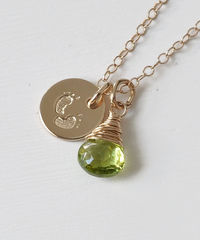 Gold Fill Baby Footprints Necklace with August Birthstone - product images 2 of 6