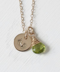 Gold Fill Baby Footprints Necklace with August Birthstone - product images 1 of 6