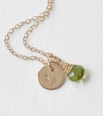 Gold Fill Baby Footprints Necklace with August Birthstone - product images 3 of 6