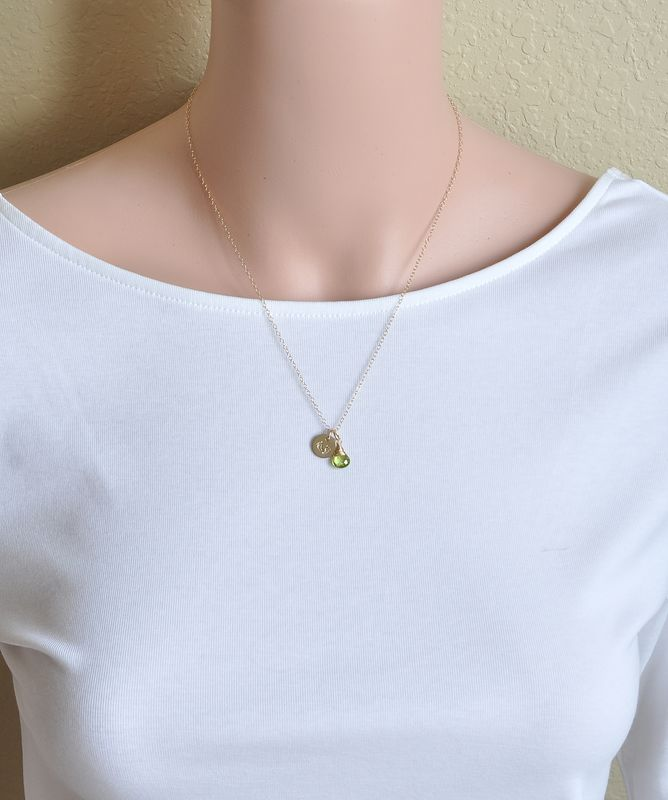 Gold Fill Baby Footprints Necklace with August Birthstone - product image