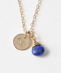 Gold Fill Baby Footprints Necklace with September Birthstone - product images 1 of 6