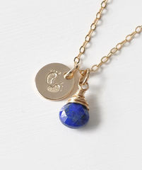 Gold Fill Baby Footprints Necklace with September Birthstone - product images 3 of 6