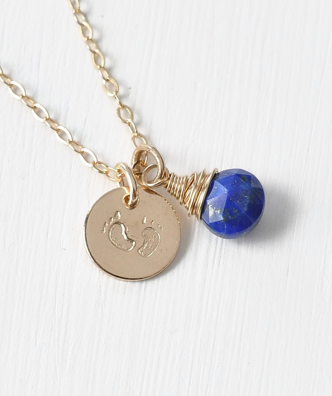Gold Fill Baby Footprints Necklace with September Birthstone - product image