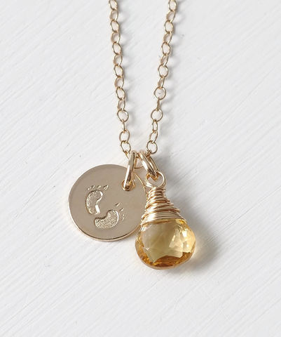Gold,Fill,Baby,Footprints,Necklace,with,November,Birthstone,baby footprint necklace birthstone
