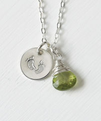 Sterling Silver Baby Footprints Necklace with August Birthstone - product images 1 of 6