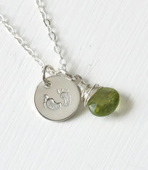 Sterling Silver Baby Footprints Necklace with August Birthstone - product images 2 of 6