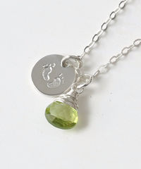 Sterling Silver Baby Footprints Necklace with August Birthstone - product images 3 of 6