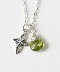 Small Sterling Silver Cross Necklace with Birthstone for August - product images 1 of 6