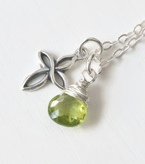 Small Sterling Silver Cross Necklace with Birthstone for August - product images 2 of 6