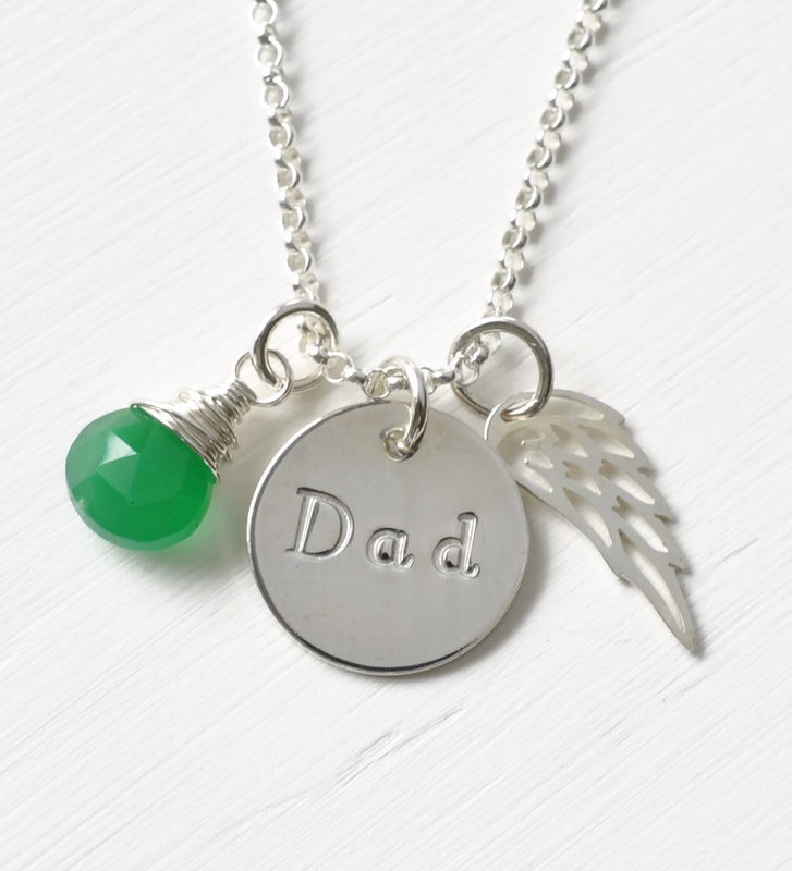 Memorial Necklace for Loss of Dad in Sterling Silver - product image