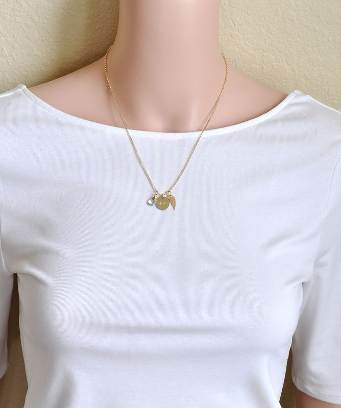 Memorial Necklace for Loss of Mom in Gold Fill - product image