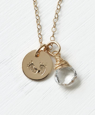 Gold,Fill,Baby,Footprints,Necklace,with,April,Birthstone,baby footprint necklace birthstone