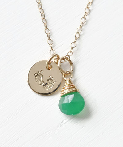 Gold,Fill,Baby,Footprints,Necklace,with,May,Birthstone,baby footprint necklace birthstone