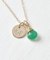 Gold Fill Baby Footprints Necklace with May Birthstone - product images 3 of 6