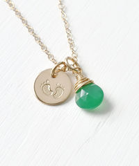 Gold Fill Baby Footprints Necklace with May Birthstone - product images 4 of 6
