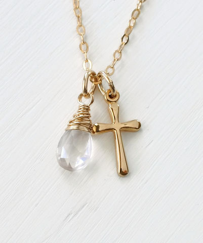 Small,Gold,Filled,Cross,Necklace,with,Birthstone,for,October,gold cross necklace with birthstone