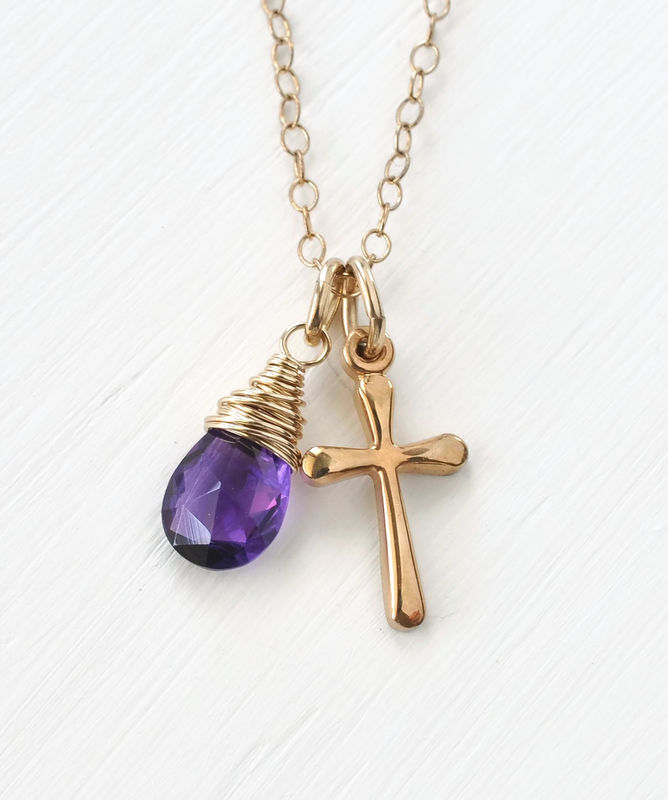Small Gold Filled Cross Necklace with Birthstone for February - product image