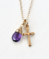 Small Gold Filled Cross Necklace with Birthstone for February - product images 1 of 5