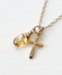 Small Gold Filled Cross Necklace with Birthstone for November - product images 3 of 6