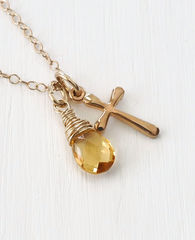 Small Gold Filled Cross Necklace with Birthstone for November - product images 4 of 6