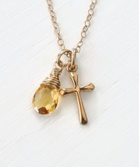 Small Gold Filled Cross Necklace with Birthstone for November - product images 1 of 6