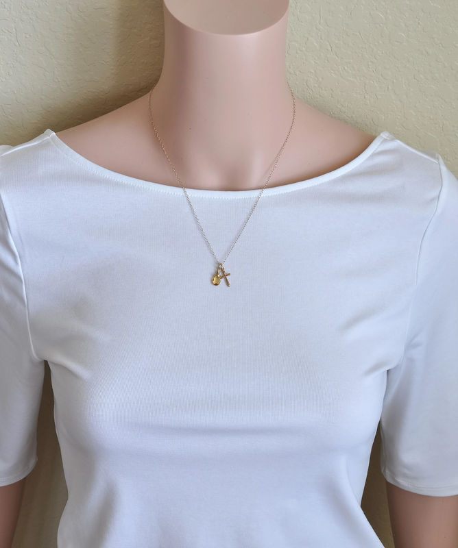 Small Gold Filled Cross Necklace with Birthstone for November - product image