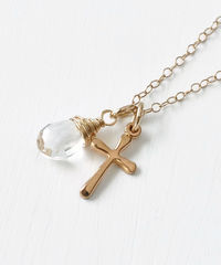 Small Gold Filled Cross Necklace with Birthstone for April - product images 2 of 6