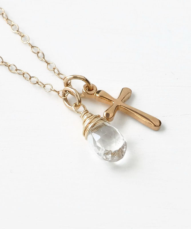 Small Gold Filled Cross Necklace with Birthstone for April - product image