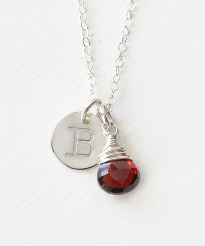 Sterling,Silver,January,Birthstone,Initial,Necklace,January birthstone initial necklace