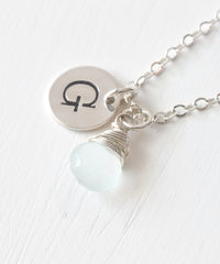 Sterling Silver March Birthstone Initial Necklace - product images 2 of 8