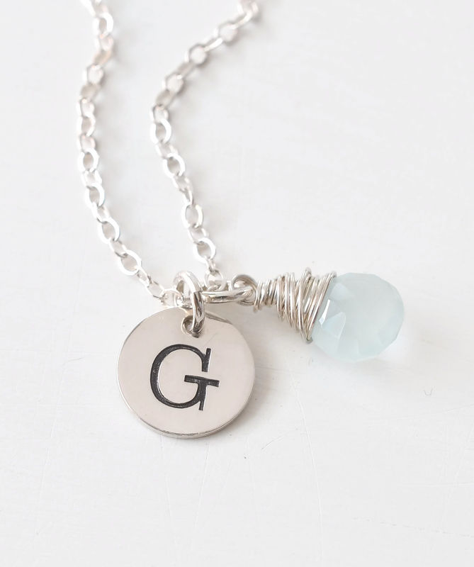 Sterling Silver March Birthstone Initial Necklace - product image