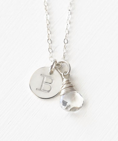 Sterling,Silver,April,Birthstone,Initial,Necklace,April birthstone initial necklace