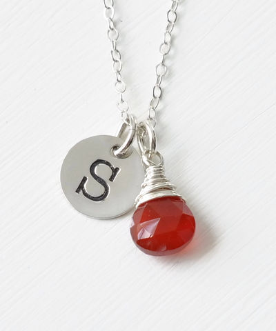 Sterling,Silver,July,Birthstone,Initial,Necklace,july birthstone initial necklace