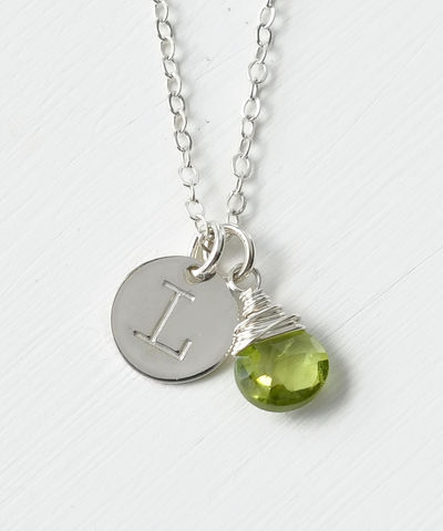 Sterling,Silver,August,Birthstone,Initial,Necklace,august birthstone initial necklace