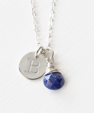 Sterling,Silver,September,Birthstone,Initial,Necklace,september birthstone initial necklace