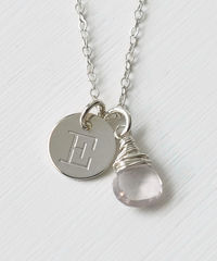 Sterling Silver October Birthstone Initial Necklace - product images 1 of 8